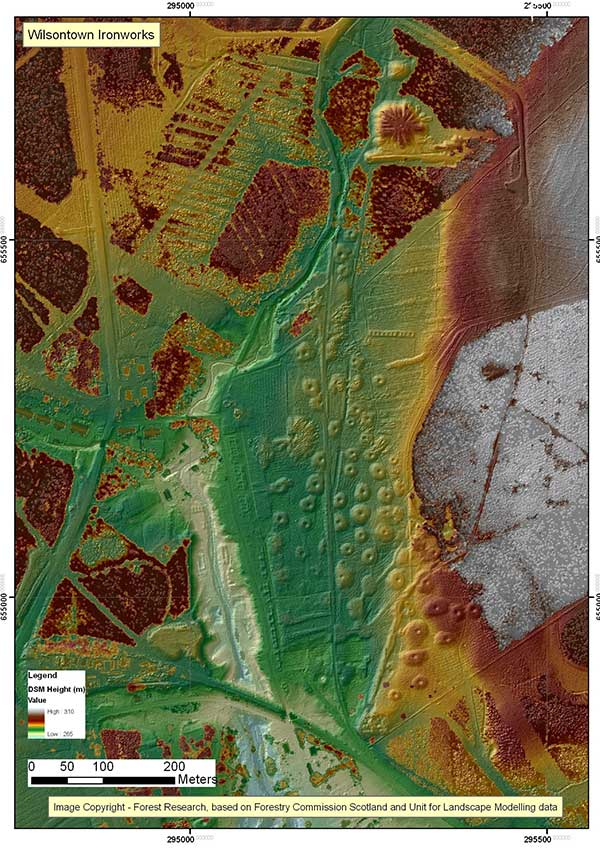 Wilsontown Ironworks LiDAR (hill-shaded orthographic plan) (copyright FCS)