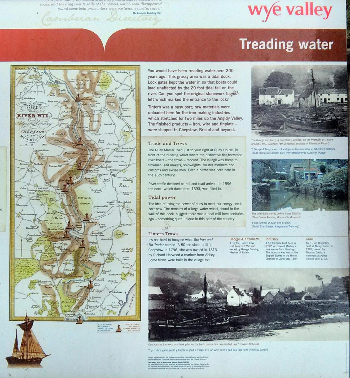 Tintern Abbey Mill information board copyright Maryann Soper